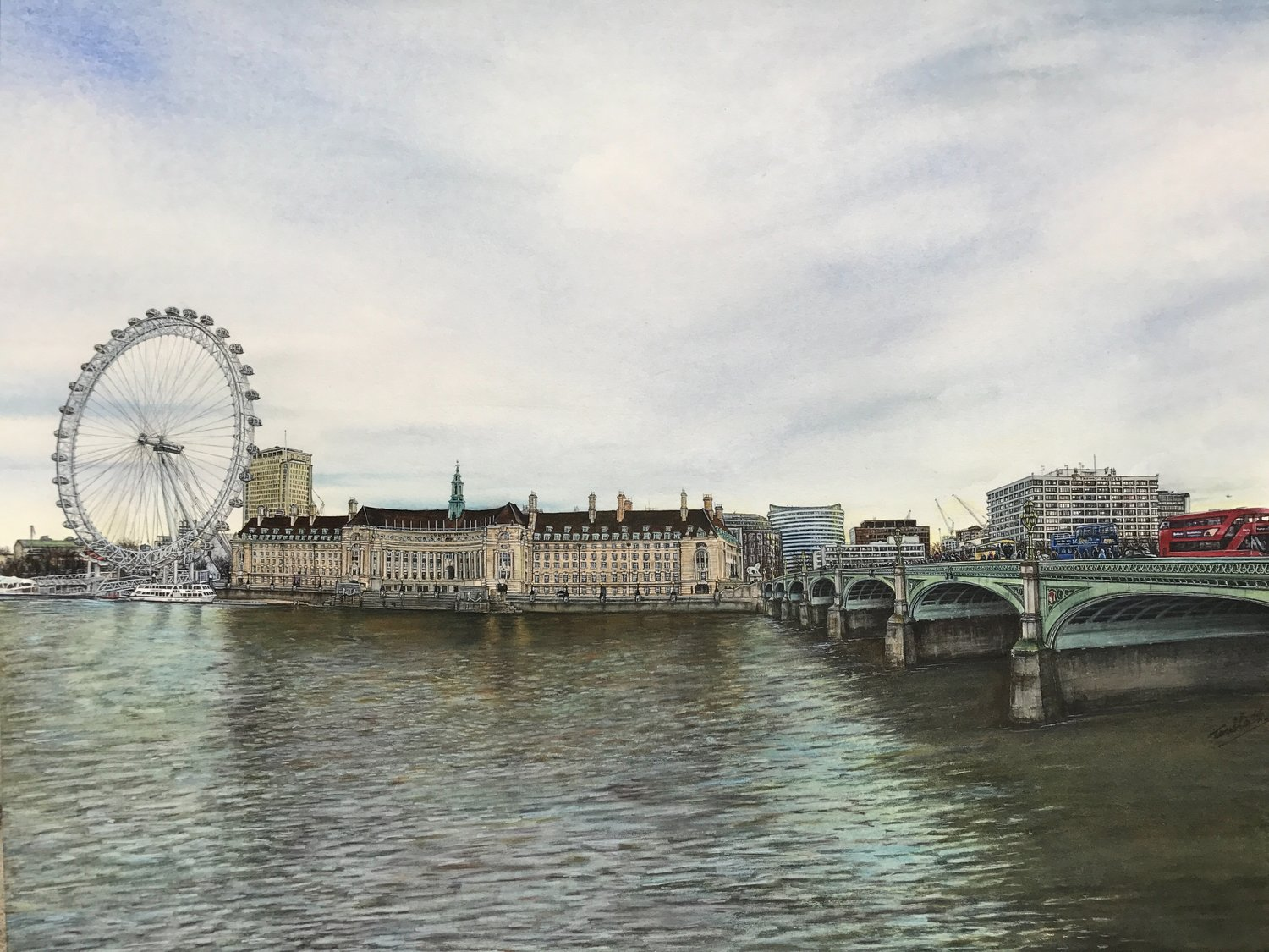 'Winter View From Westminster Bridge Road', Toulla Hadjigeorgiou, Watercolour, 73 x 63 cm