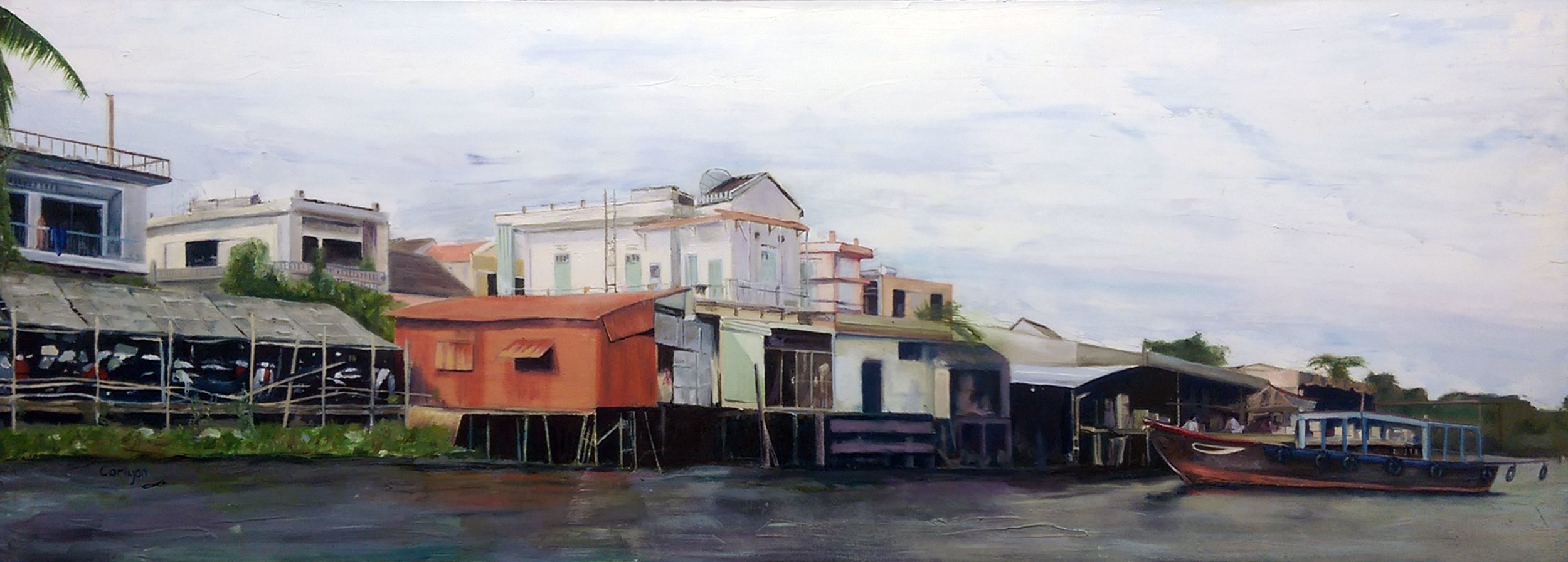 'Hoi An', Alan Smith, Oil, 80 x 35 4 cm