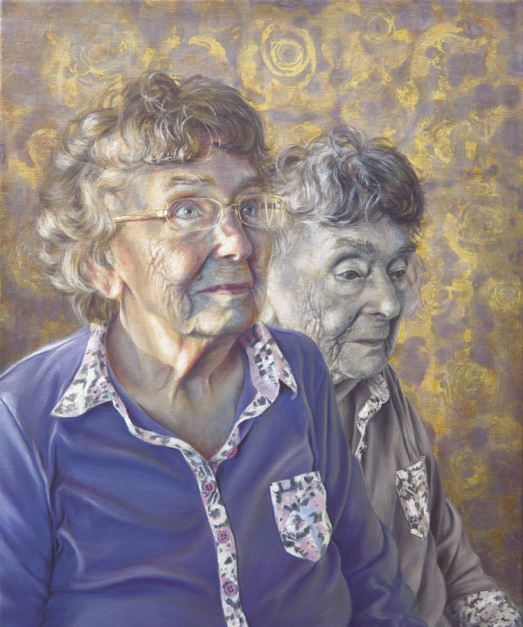 'Mrs Joan Prentice, Good Days and Bad', Alanda Calmus, Oil and acrylic on linen, 46 x 55 x 2 cm