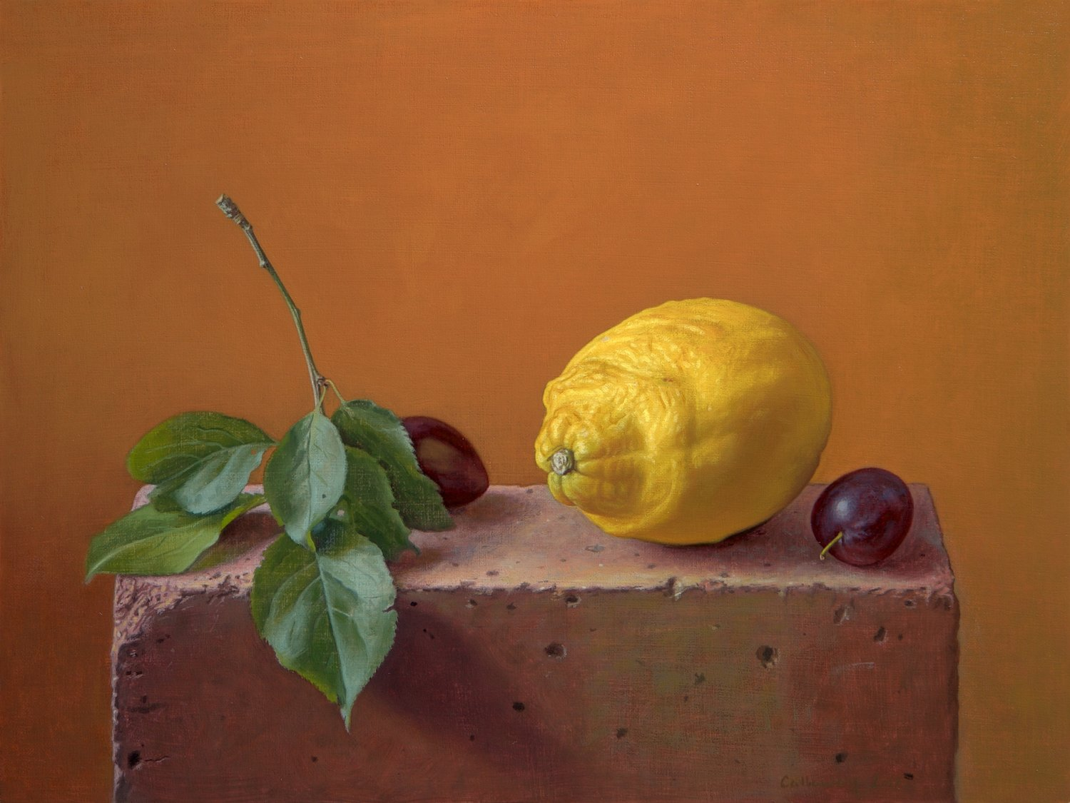'Lemon with Damsons on a Brick', Alex Callaway, Oil, 30 x 40 x 0.5 cm
