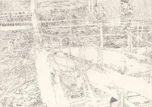 'Retreat', Alexandra Blum, Graphite on paper, 21 x 29.7 cm
