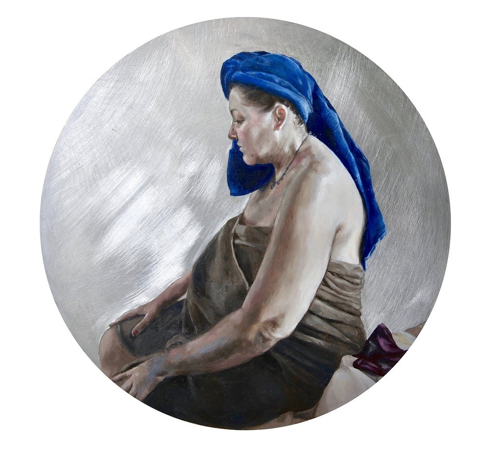 'Blue Turban', Alicia France, Oil on auminium, 30 x 30 cm