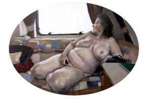 'Nude in Caravan', Alicia France, Oil on aluminium, 40 cm x 32 cm