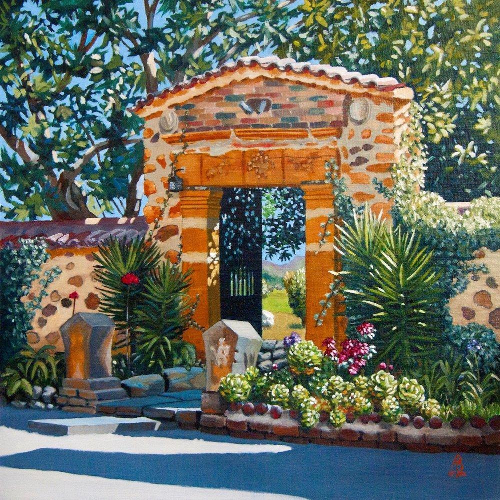 'To a Monastery Garden, Colombia', Alix Baker, Oil, 40 x 40 x 0.5 cm