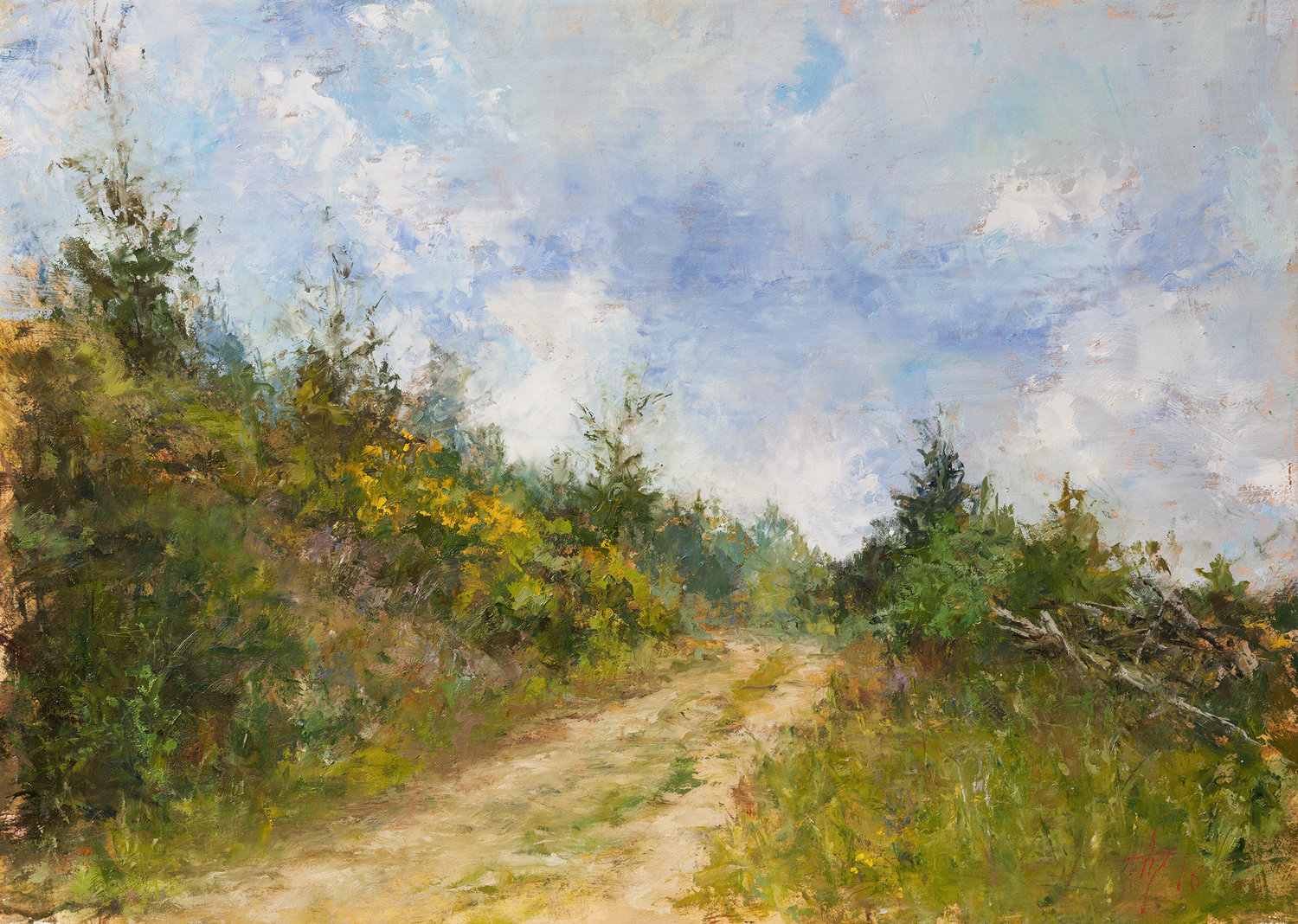 'Above Martinsthal', Andrei Tchernoukha, Oil on wood panel, 25 x 35 x 0.6 cm