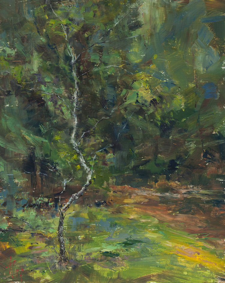 'Lonely birch', Andrei Tchernoukha, Oil on linen panel, 30 x 24 cm