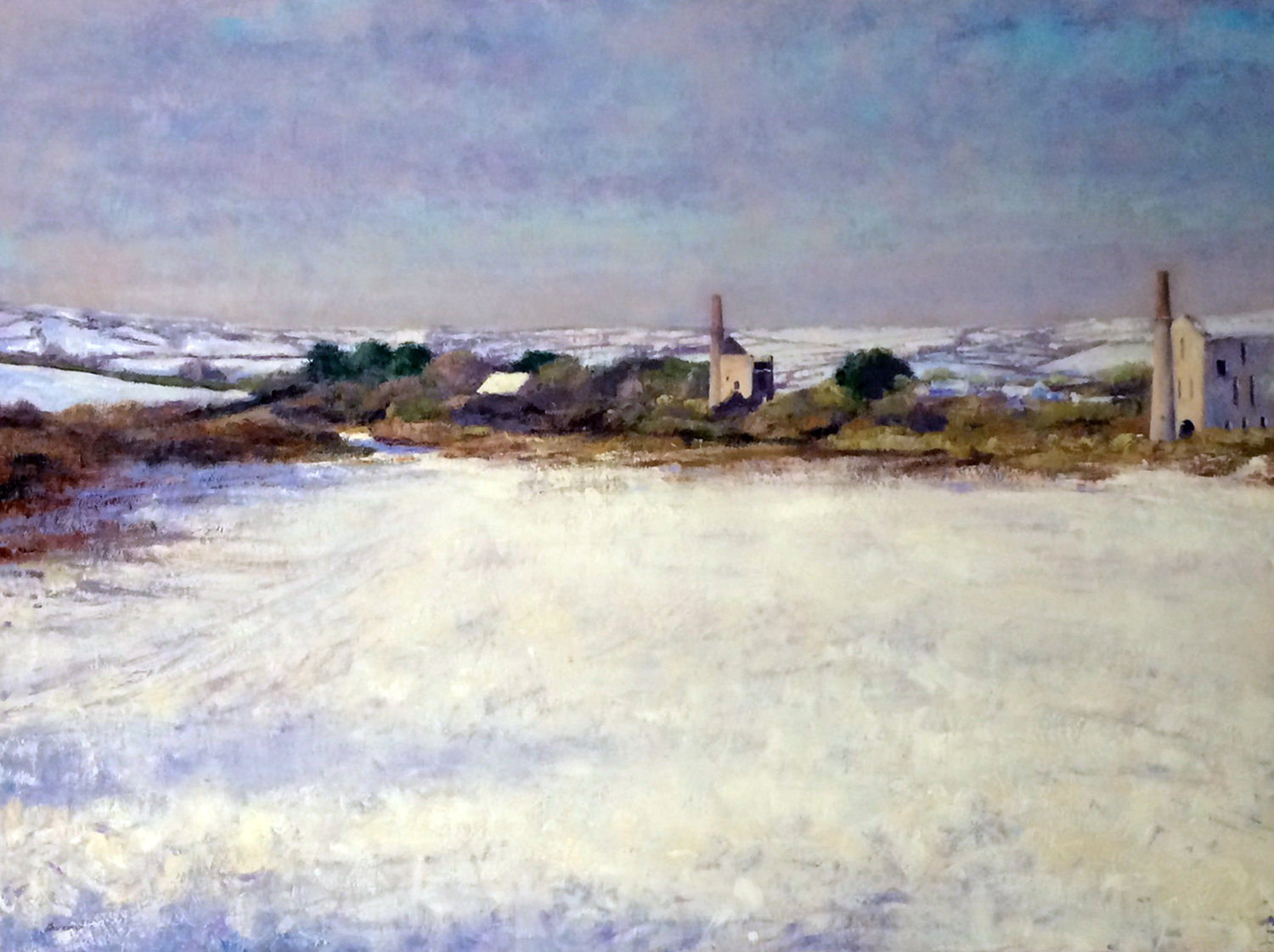'Morning snow, Cornwall', Andrew Barrowman, Oil on canvas, 78 x 102 x 3 cm