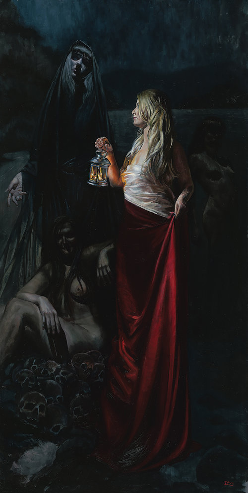'Angels of Darkness, Demons of Light', Daire lynch, Oil on aluminium panel, 122 x 61 cm