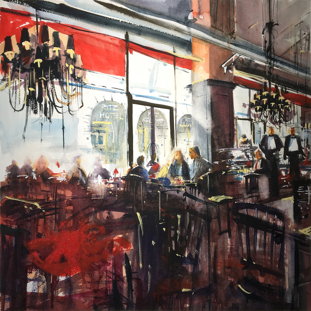 'Breakfast in Piccadilly', Mark Buck, Watercolour on paper, 45 x 45 x 1 cm
