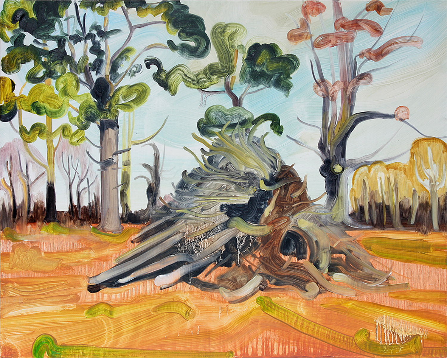 'Pyre', Caroline Thomson, Oil on wood, 40.5 x 50.5 x 5 cm