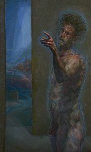 'Self-Portrait in Margate', Charlie Schaffer, Oil on canvas, 115 x 70 cm