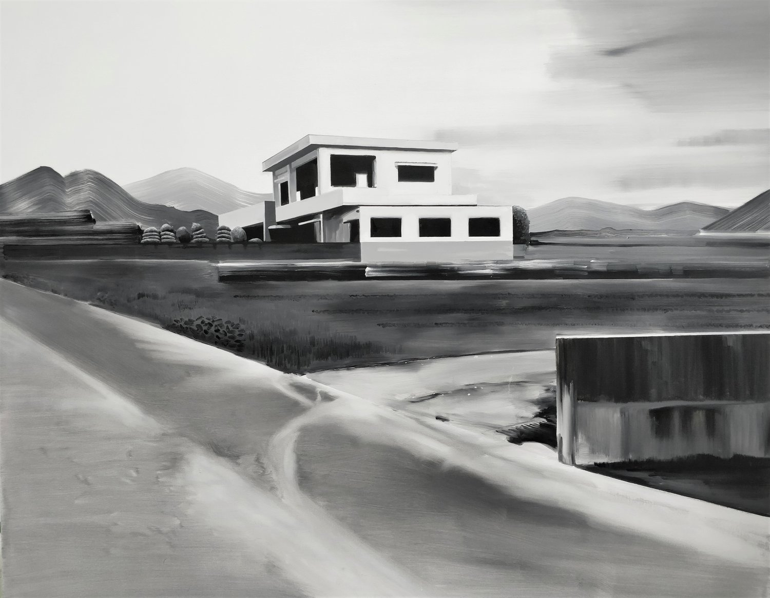 'White and Grey House', Charlotte Brisland, oil on canvas, 150 x 120 cm