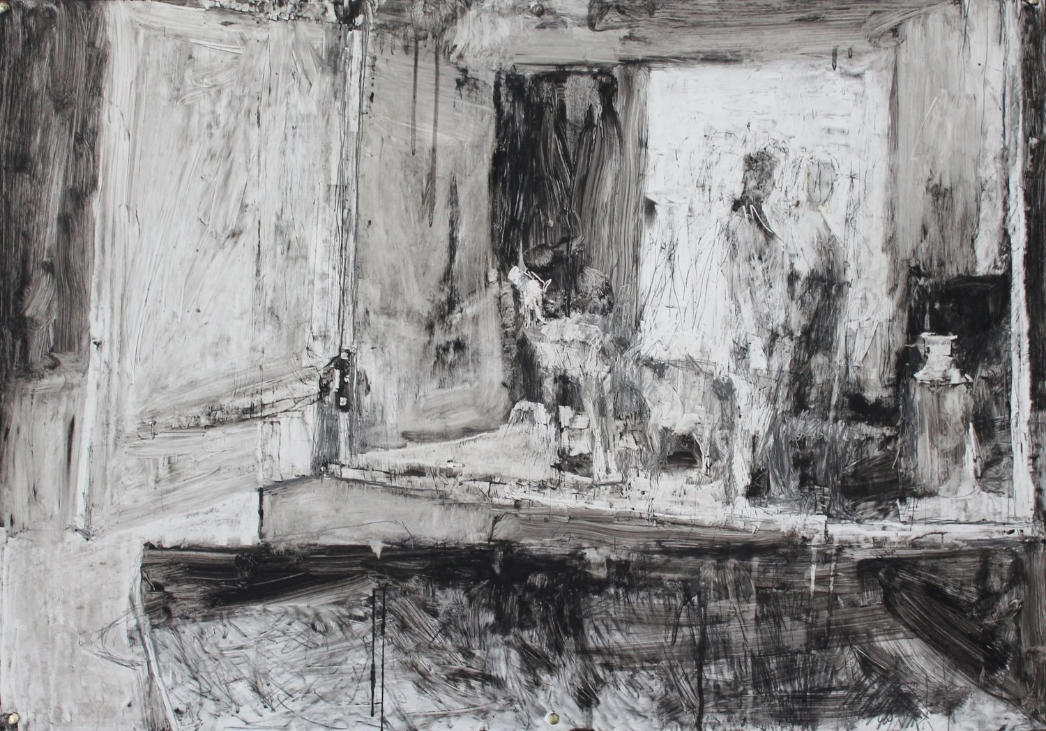 'Camel and Figure Still Life', Craig Jefferson, Oilbar, graphite and soot on paper, 69 x 100 x 5 cm
