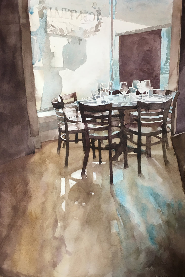 'Seating for Seven', Cyrus Hunter, Watercolor, 38 x 56 cm