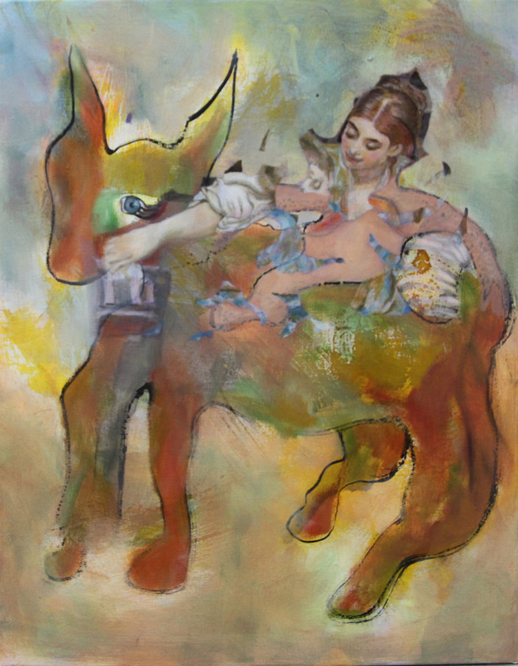 'Donkey with woman', Daniela Benz, Ink and oil on canvas, 50 x 40 x 2 cm
