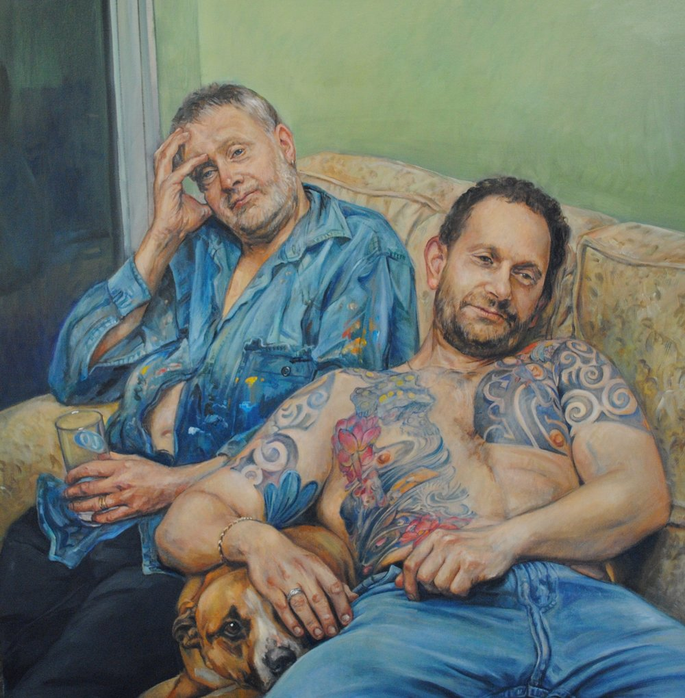 'John and Robert with Nellie', Jane Allison, Oil paint on canvas, 100 x 90 x 2 cm