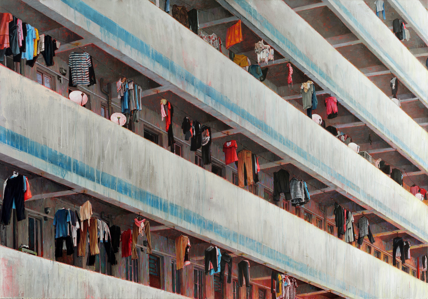 'Factory Housing', David Agenjo, Acrylic and oil on canvas, 140 x 200 x 3 cm