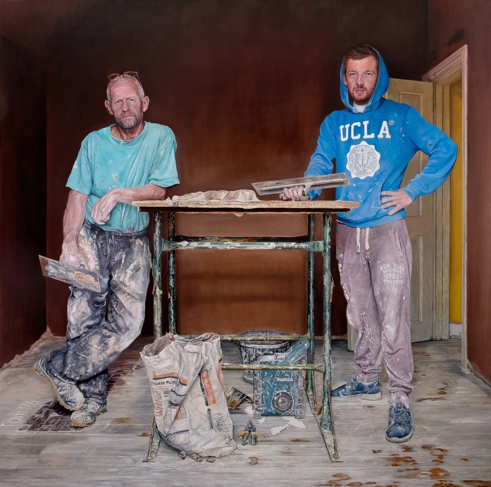 'The Plasterers', David Vigor, Oil on plywood, 91.5 x 91.5 x 5.2 cm