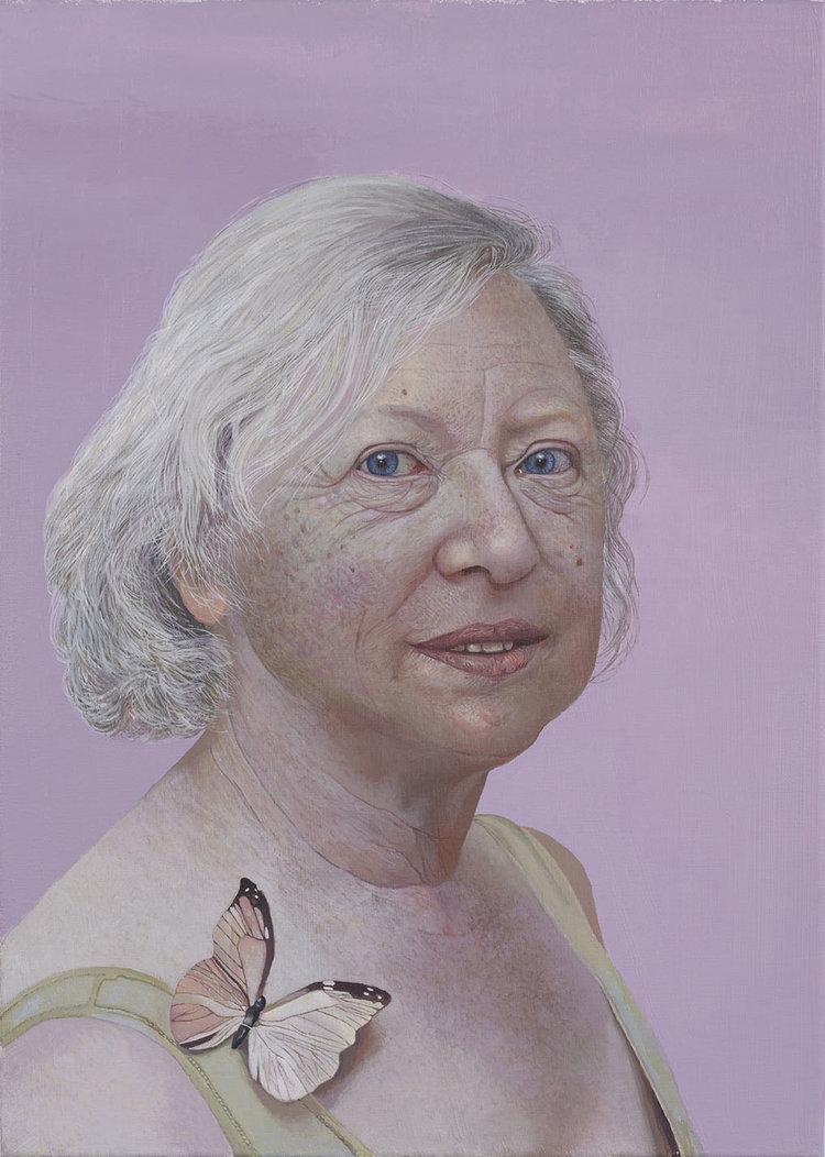 'Frau mit Schmetterling', Fakhri Bismanto Bohang, Acrylic on canvas, 70 x 50 x 2 cm