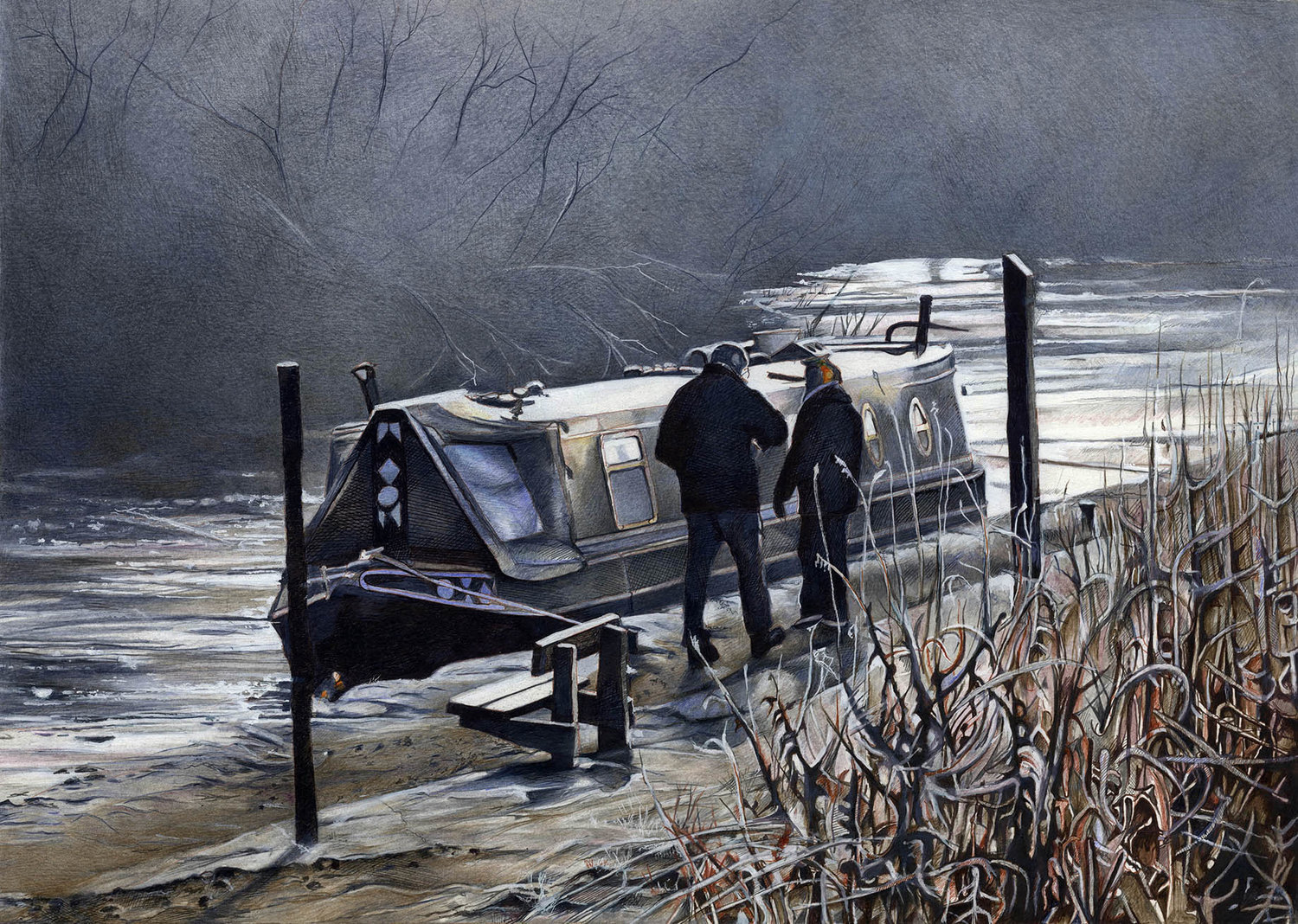 'Frozen (Roaches Lock)', Gordon Clegg, Pencil crayons, inks and gouache, 75 x 60 x 2 cm