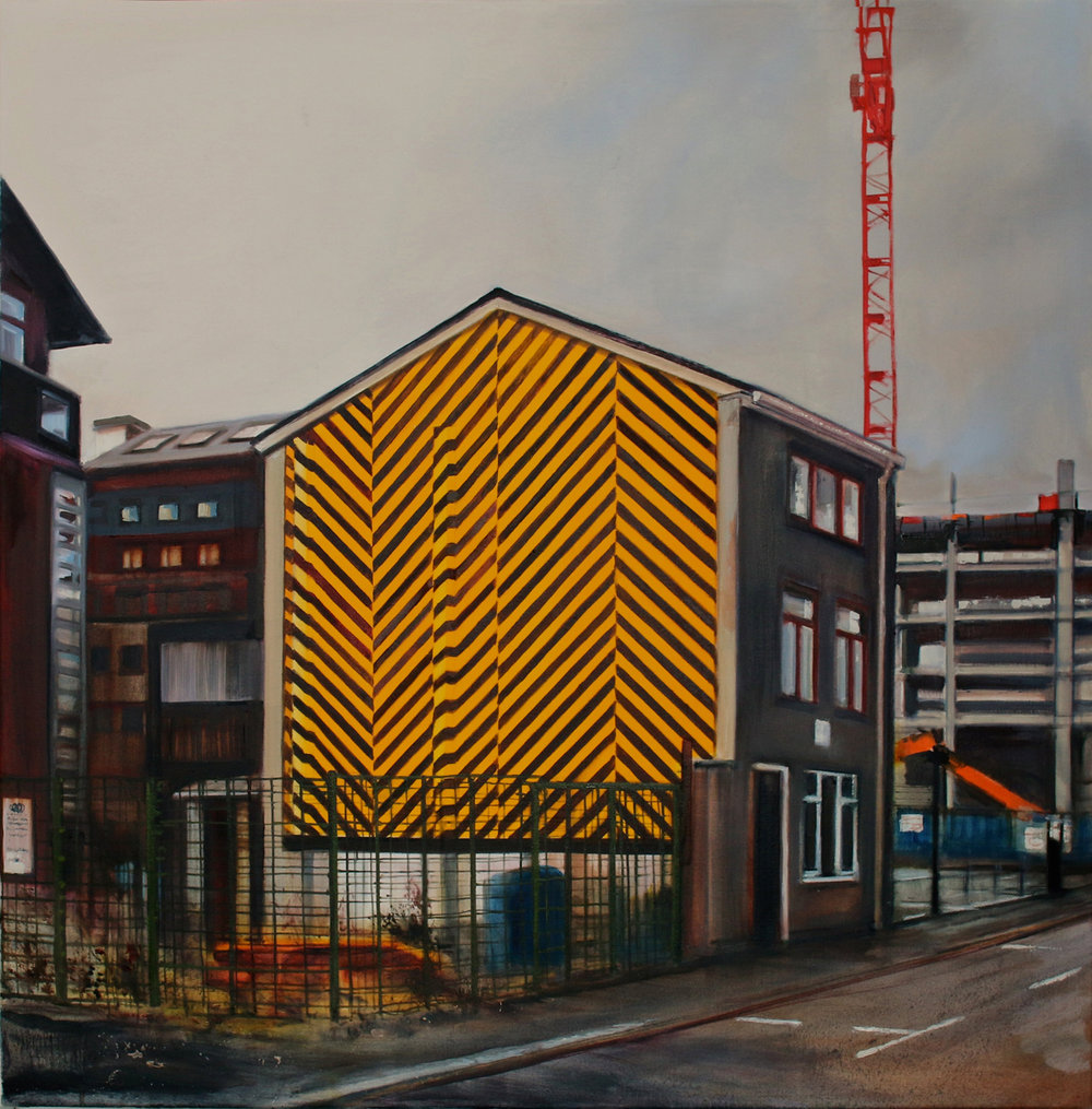 'Facade Yellow and Black', Georgia Peskett, Oil on silk over canvas stretcher, 79 x 79 x 3 cm