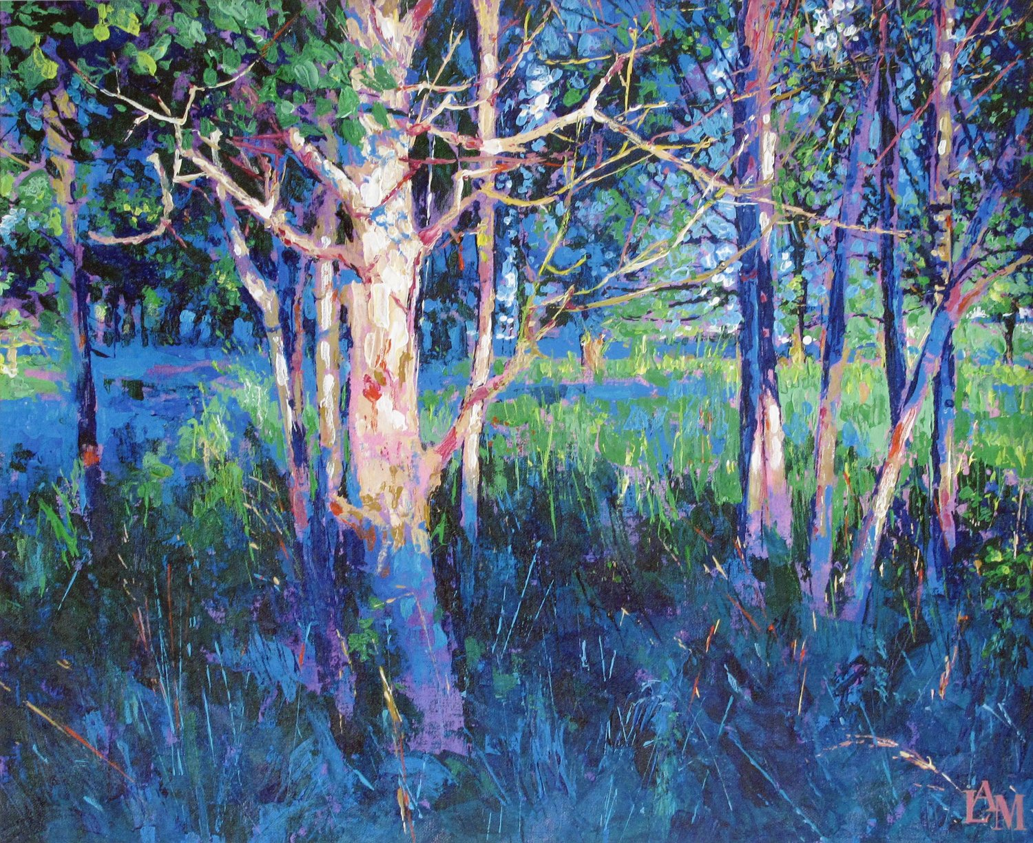 'Harrestrup Evening Blue', Lesley Anne Mackenzie, Acrylic, 56 x 46 cm