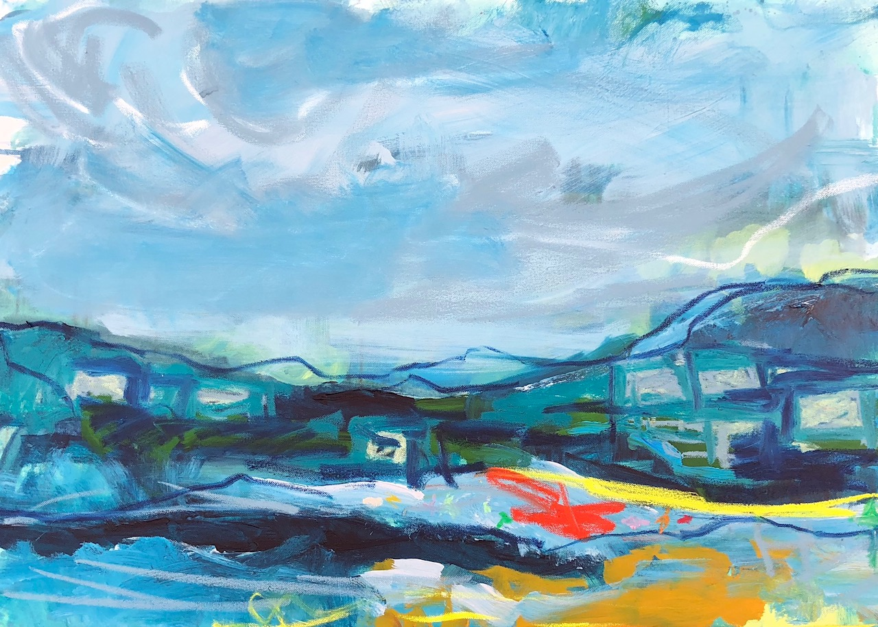'Exe Estuary', Emily Powell, Acrylic and oil bar, 60 x 84 cm