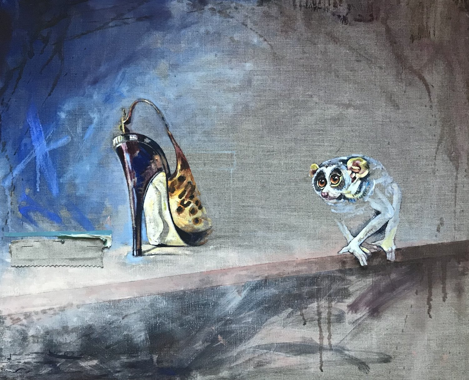 'The Loris Who Loved Shoes', Laura Andrew, Oil on canvas, 50 x 61 x 2 cm