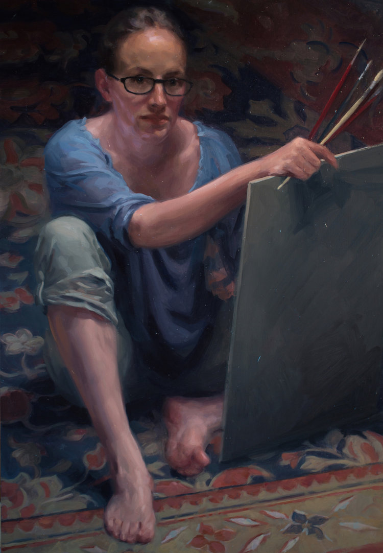 'Self portrait', Frances Bell, Oil on board, 45 x 60 x 1 cm