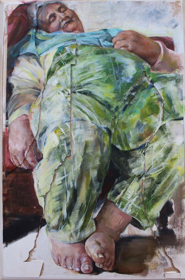 'Nan Asleep', Suman Kaur, Acrylic on board, 60 x 39 x 1.5 cm