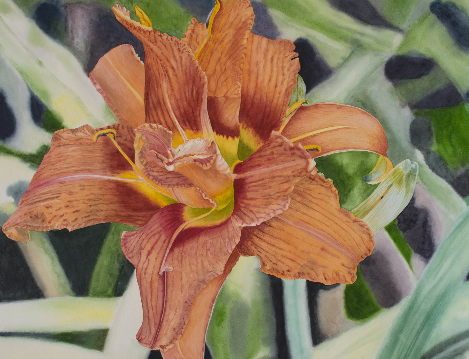 'Daylily', Eduvigis (Inma) Medina, Watercolour on paper, 66.4 x 50.8 cm