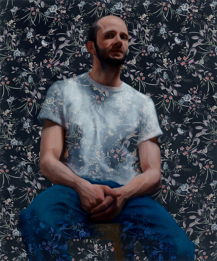 'JP', MD Drexler, Oil paint on printed fabric, 120 x 100 cm