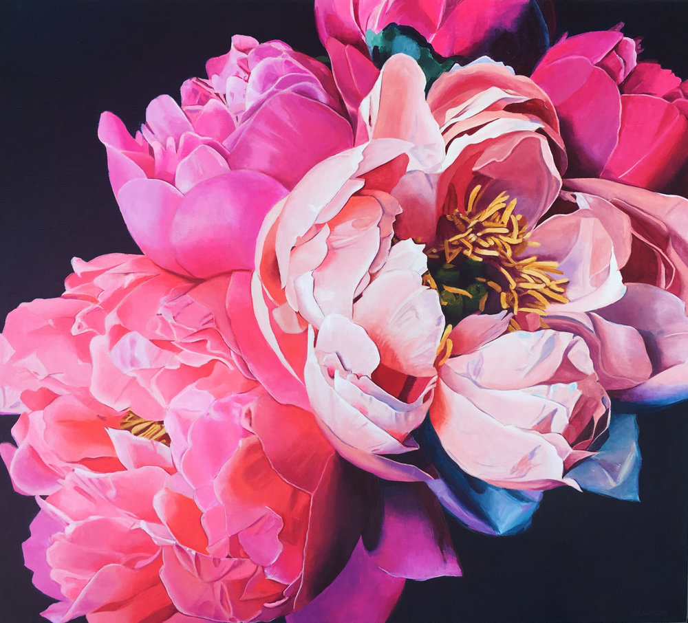 'Think Pink', Jana Leimane, Acrylic on canvas, 90 x 100 x 3 cm