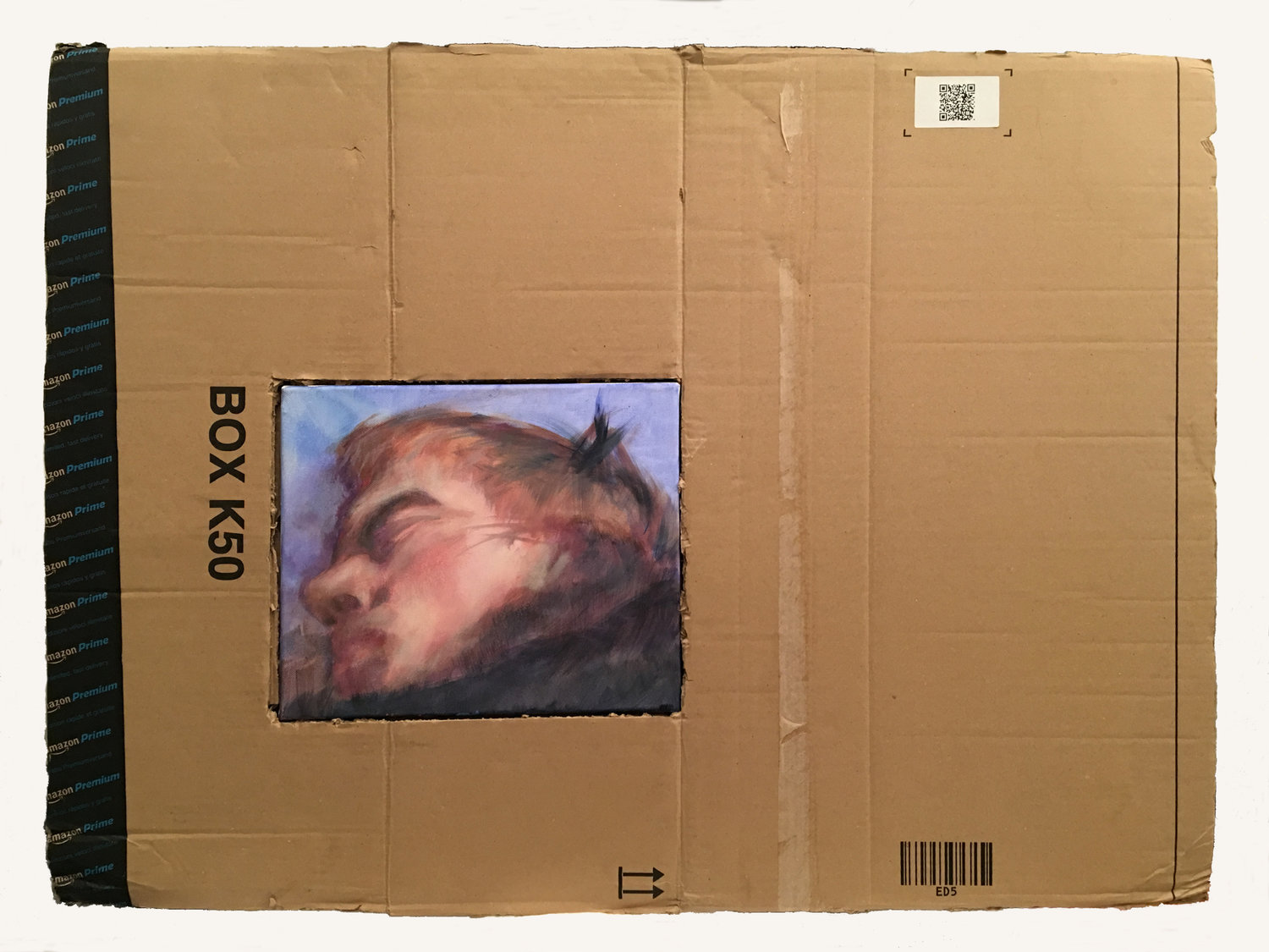 'BOX K50', Jane Barton, Acrylic on canvas, cardboard box, 65 x 88 x 3 cm