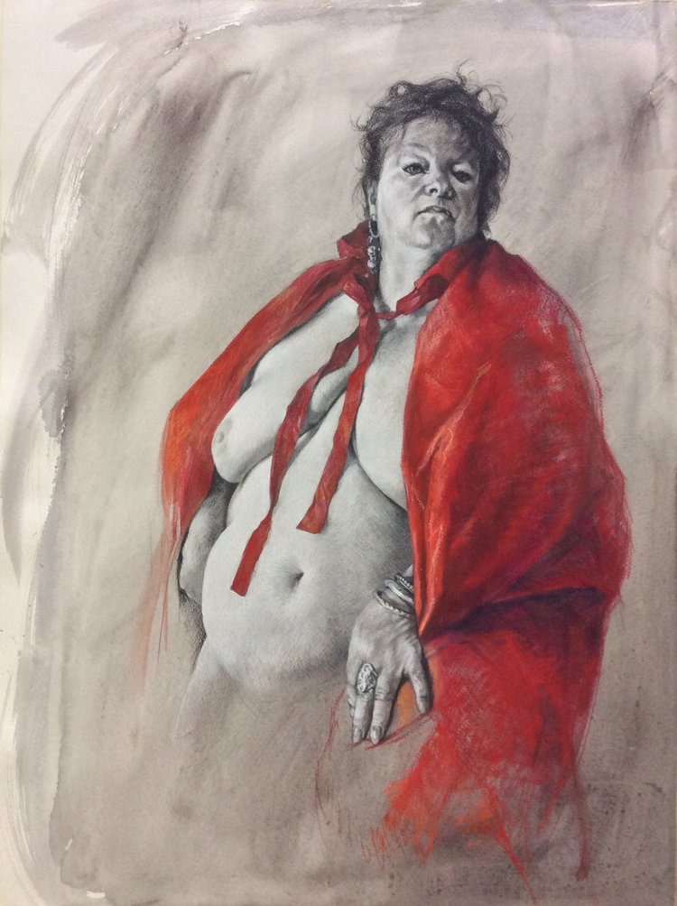 'Bull fighter', Jennifer Goddard, Charcoal, pastel, watercolour on paper, 76 x 56 cm