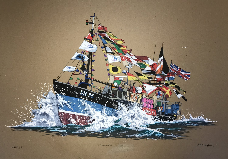 'Salcombe Trawler Race', Jess Douglas, Acrylic paint pens, 42 x 60 cm