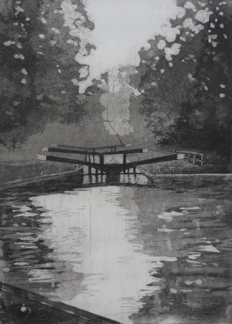 'Hanwell Locks', Jessica Rose, Etching on paper, 53 x 41 cm
