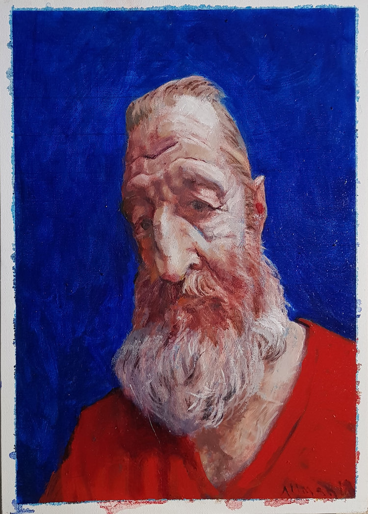 'Old Jew', John Alman, Oil on canvas, 60 x 55 cm