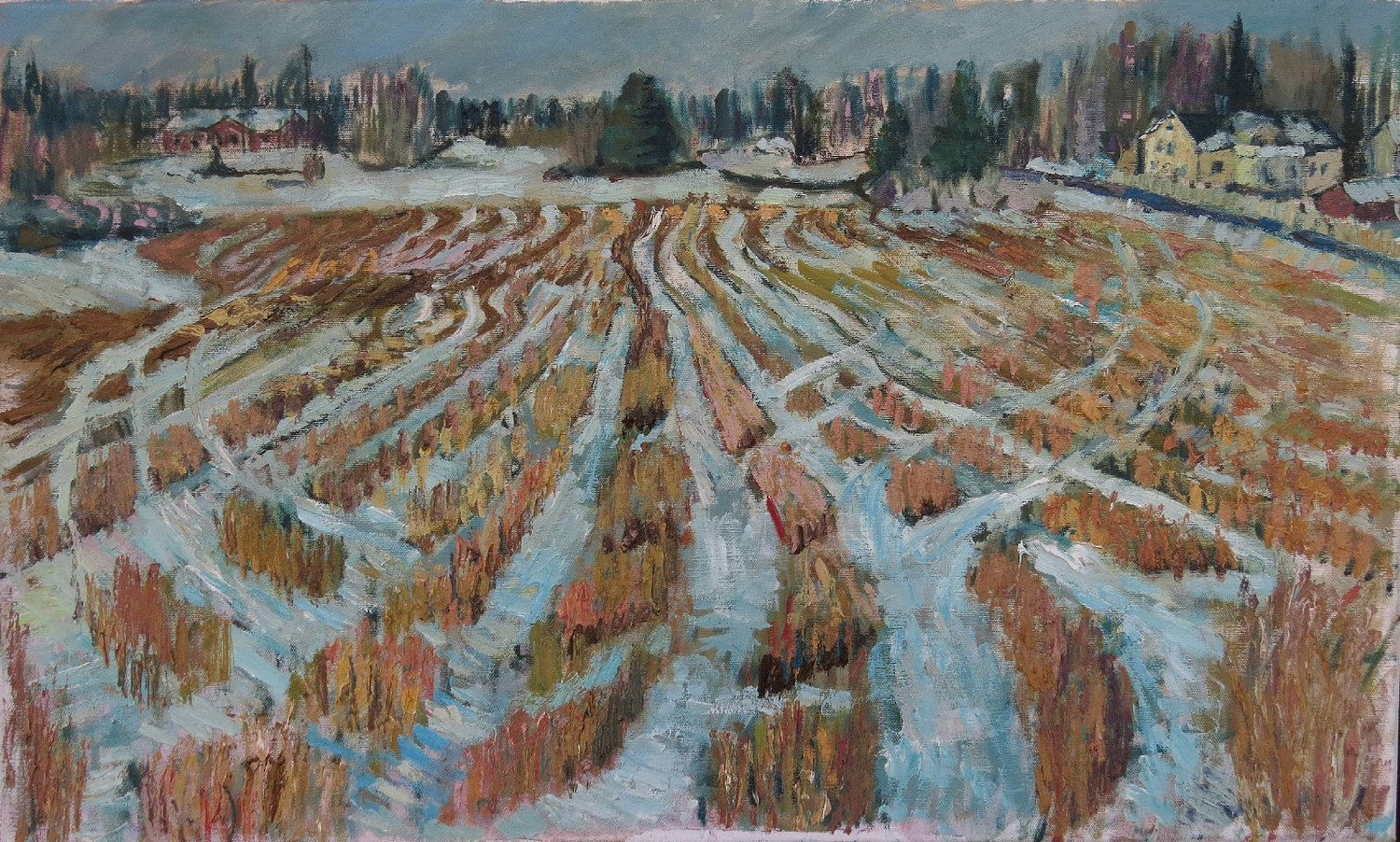 'Wheatfield in Winter', John Maclean, Oil on canvas, 75 x 45 cm
