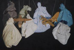 'Left Hanging IV', John Whitehill, Oil on canvas, 75 x 50 x 4 cm