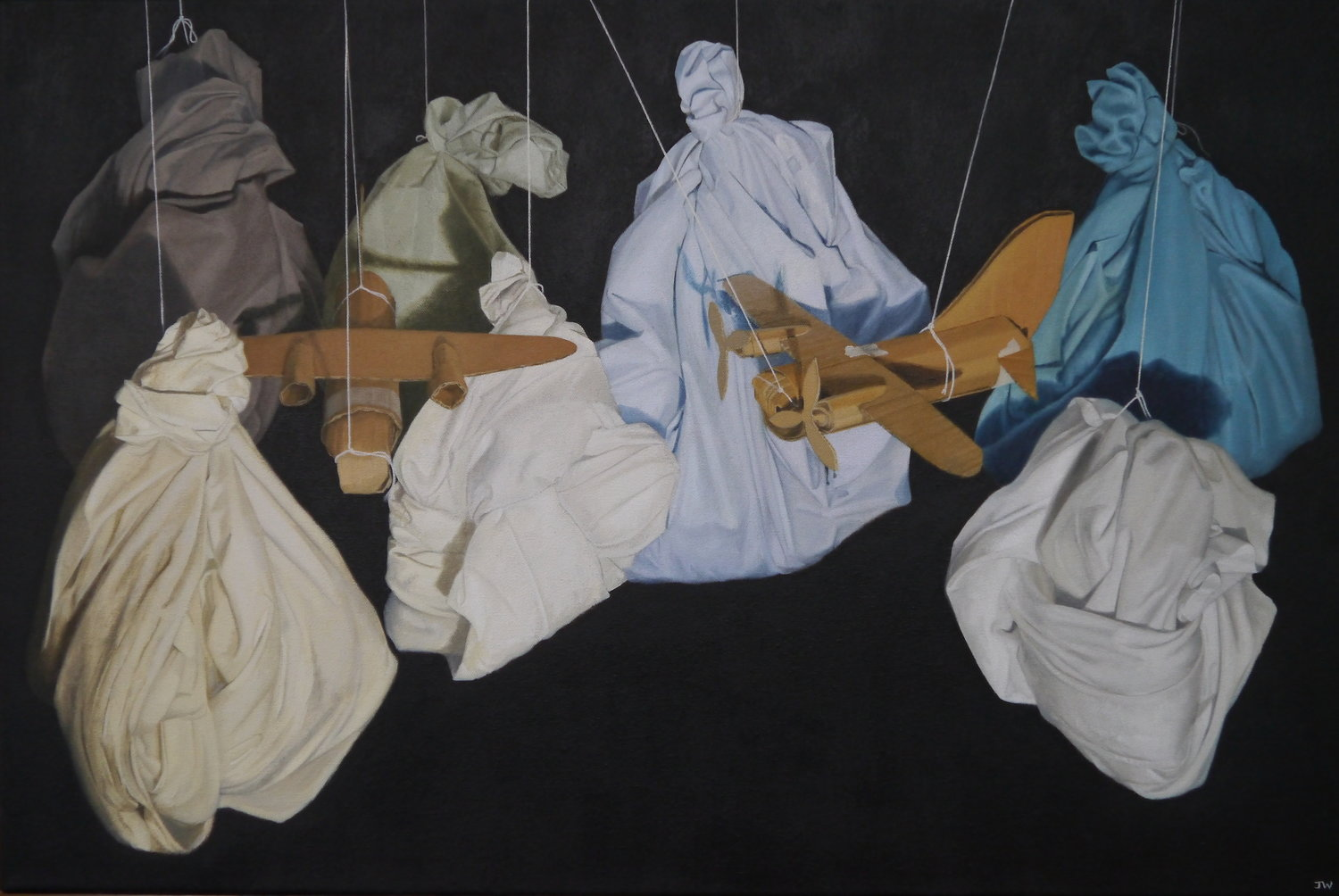 'Left Hanging IV', John Whitehill, Oil on canvas, 75 x 50 x 4 cm