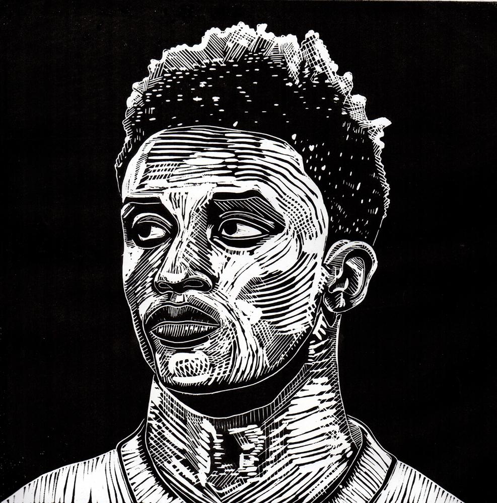 'Gray', Jonathan Costall, Linocut print, 30 x 30 cm