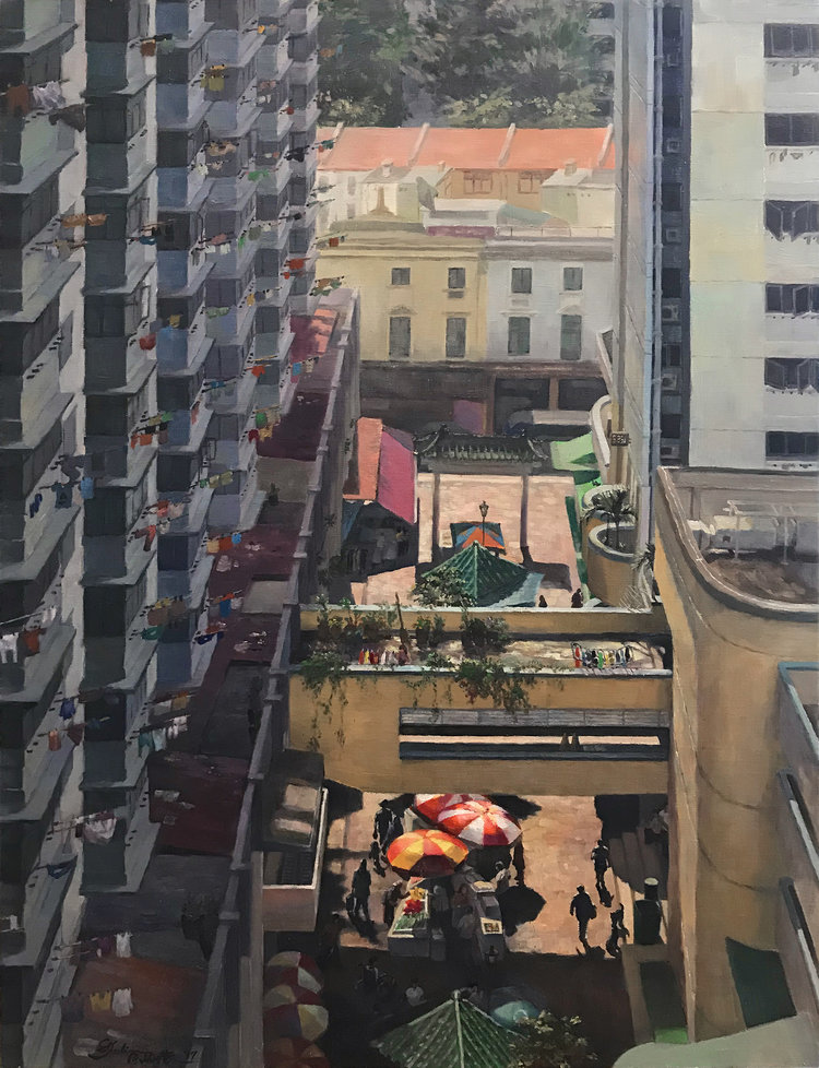 'My Colourful Neighbourhood', Juliana Chan, Oil on canvas, 76 x 61 x 4 cm