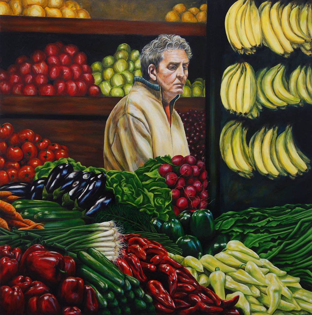 'Lost - A Market In Amsterdam', Kate Broadhurst, Acrylic on canvas, 100 x 100 x 2.5 cm