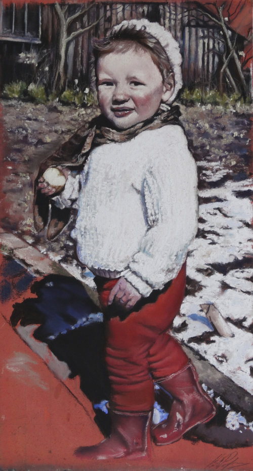 'The Red Boots', Kate Passingham, Pastel & charcoal on board, 55 x 34 x 3 cm