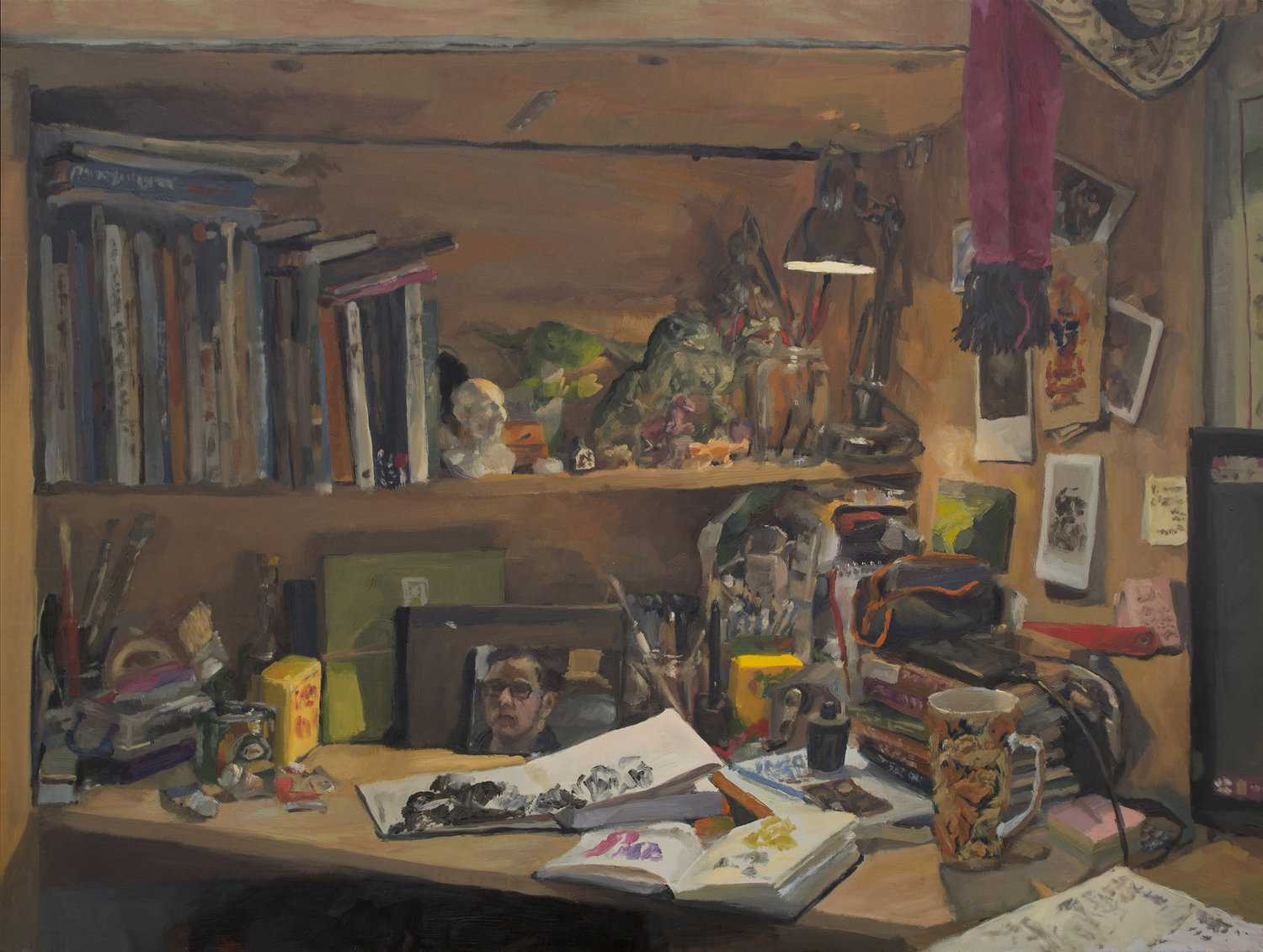 'Messy Desk', Lancelot Richardson, Oil on board, 45.8 x 61 cm