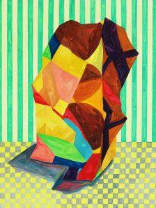 'Lean', Louisa Chambers, Gouache on board, 40 x 30 x 2 cm
