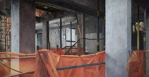 'View through the porthole', Madison Vander Ark, Oil on MDF, 35.5 x 18 cm