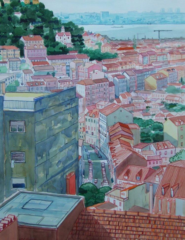 'Lisbon', Malcolm Hopper, Watercolour, 78 x 58 cm