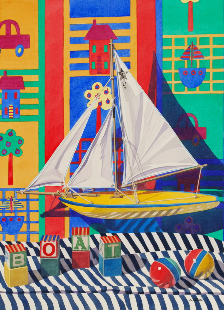 'Boats, Blocks and Balls', Marjorie Collins, Watercolour, 97 x 75 x 2 cm